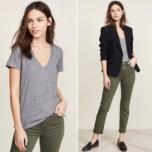 Madewell Gray V-Neck with Pocket, Size L